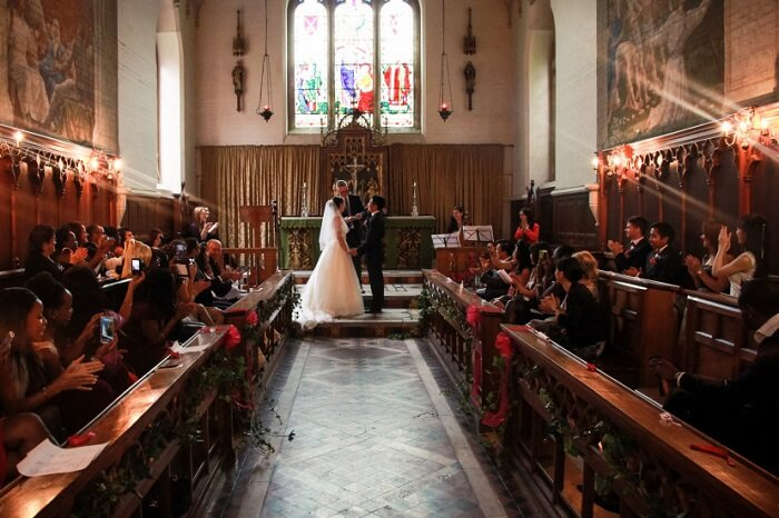A Chapel Ceremony on a wedding at Fulham Palace in London