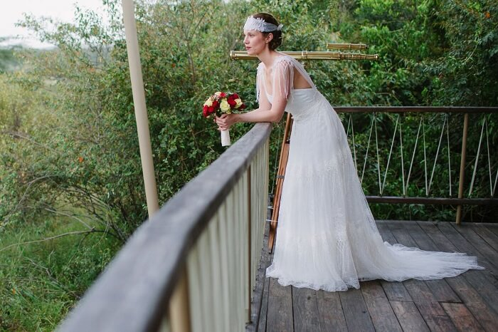 The bride poses before the marriage at Mara Bushtops in Kenya