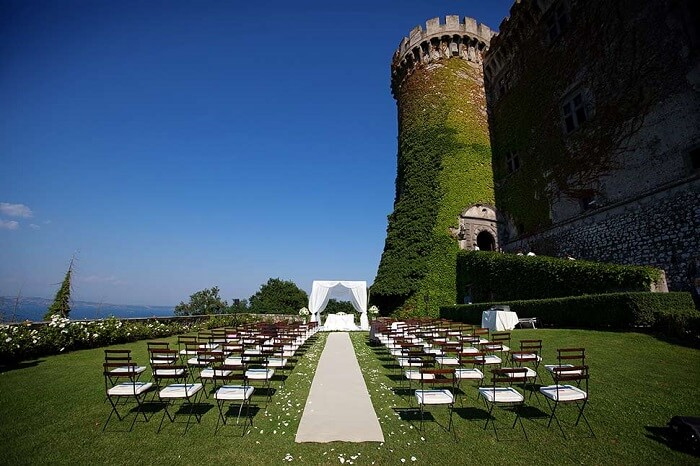 The wedding arrangement at the Odescalchi Castle near Rome