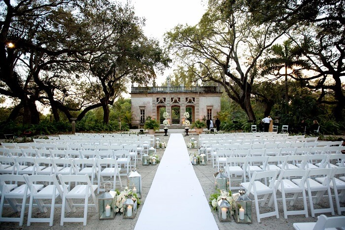 The wedding arrangements at Vizcaya museum and gardens