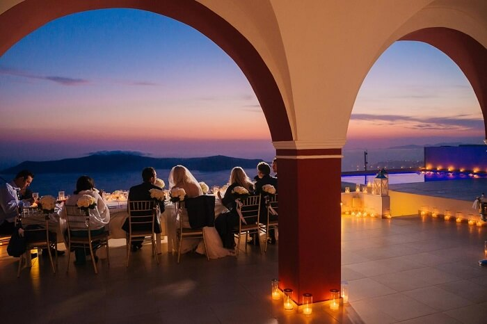 The wedding dinner at La Maltese Estate of Santorini in Greece