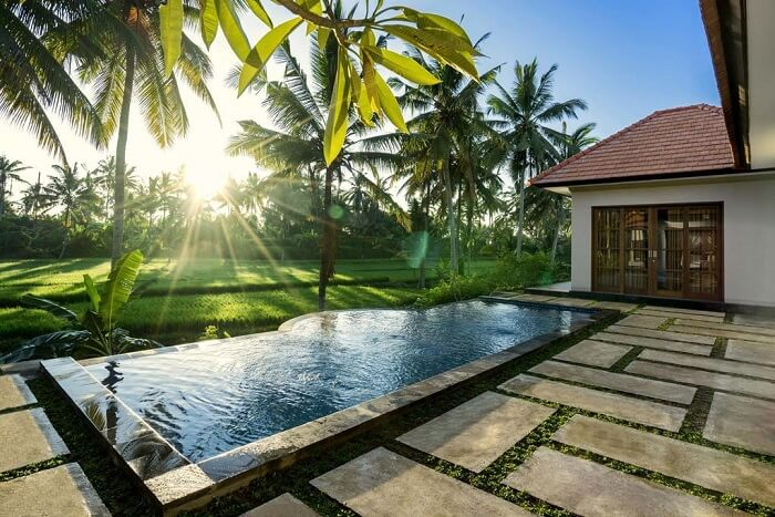 villa gusku with private pool and rice field views