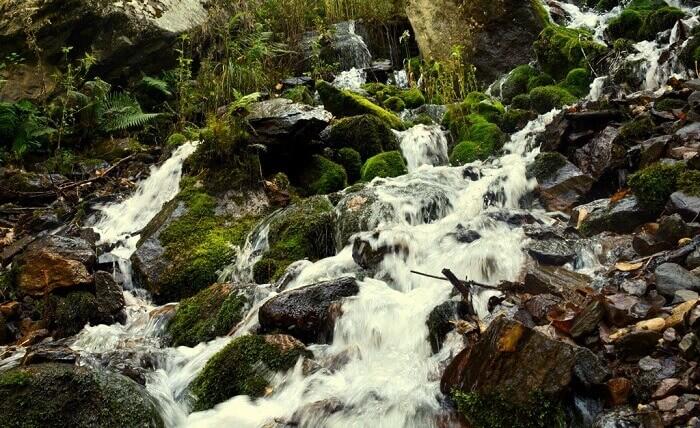 Streams of water seeping down from Kheer Ganga