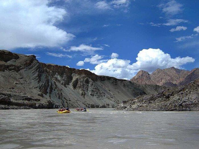 two rafts in zanskar river