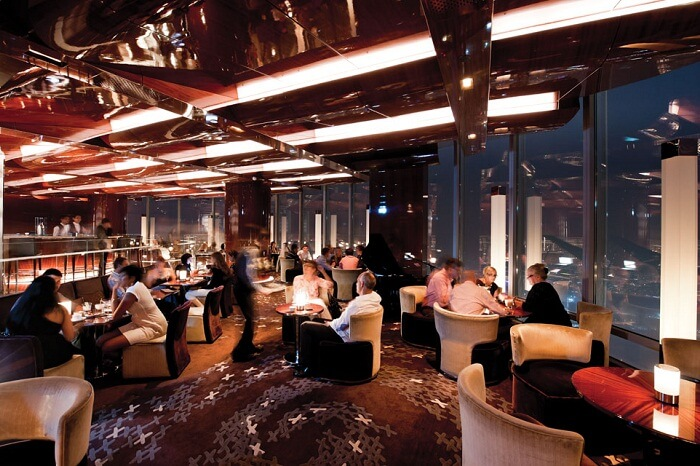Guests enjoy meals and beverages at the At.Mosphere restaurant at the Burj Khalifa