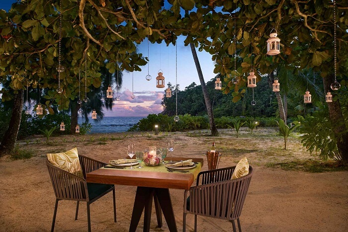 The private beach dining facility at the Avani Resort in Seychelles
