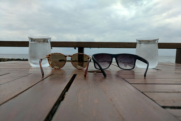 goggles and glasses on a holiday