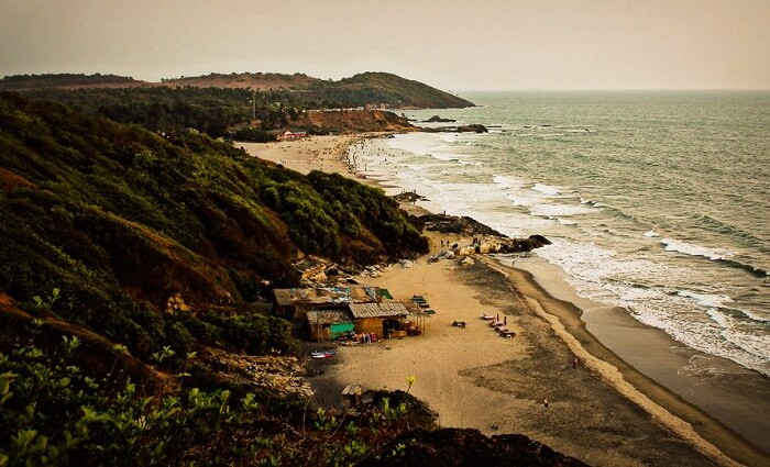 An aerial view of the Chapora beach from the Chapora Fort