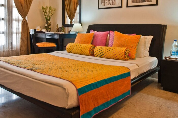 A simple but pretty room at the Colonels Retreat in Delhi