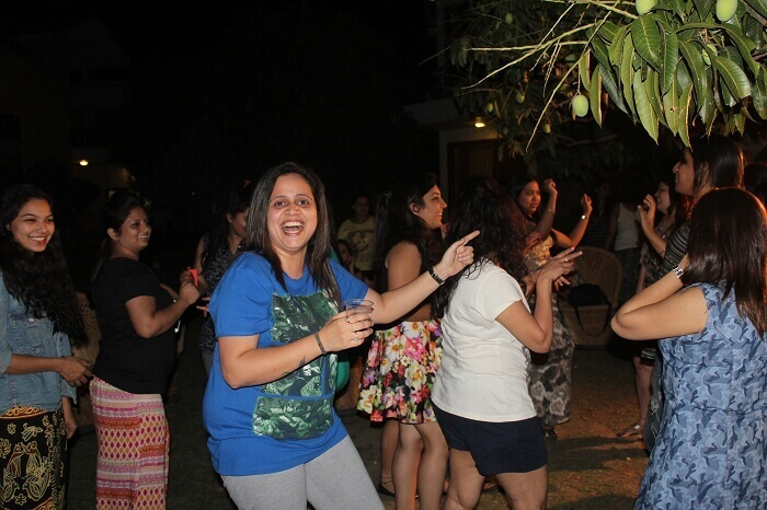 girls enjoying DJ party at Corbett National Park