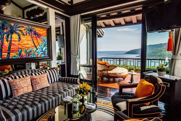 Living room of a heavenly penthouse at Intercontinent Danang Sun Peninsula Resort