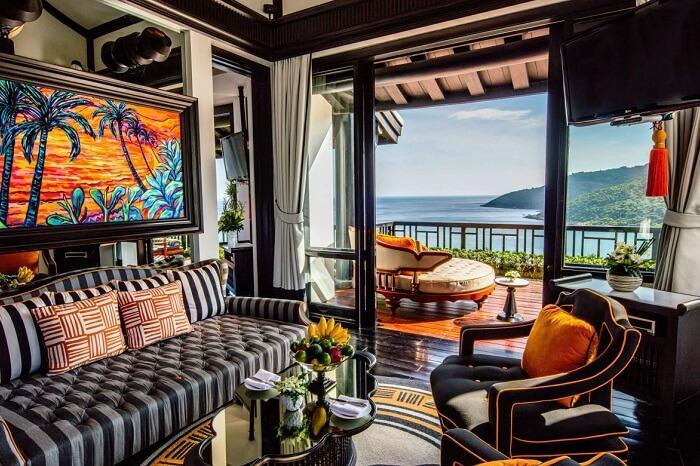 Living room of a heavenly penthouse at Intercontinent Danang Sun Peninsula Resort