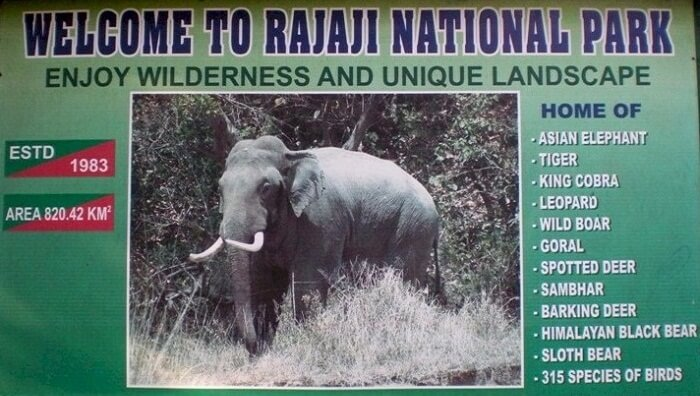 A welcome board at the Rajaji National Park