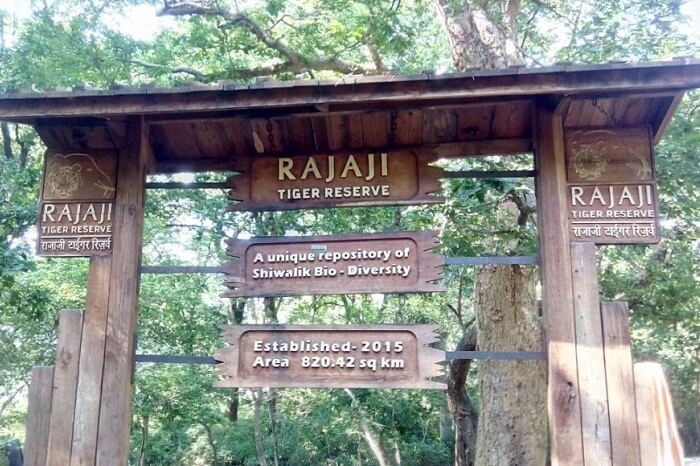 The sign board of the Rajaji Tiger Reserve in Uttarakhand