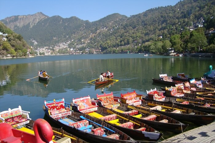 Tourists and locals boating at the Naini Lake in Nainital