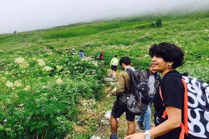 kw-130917-Trekkers trekking through the Valley of Flowers in Uttarakhand