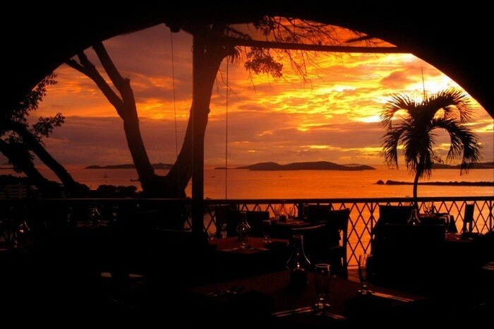 A sunset shot of the Asolare restaurant in the US Virgin Islands