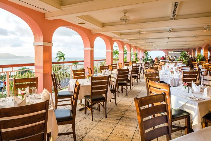 The Balcony Beachfront restaurant at the Buccaneer resort in the US Virgin Islands