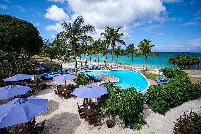 The grotto and swimming pool by the beach at the Buccaneer resort in the US Virgin Islands