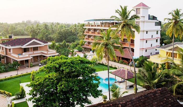 An aerial view of the La Grace Goa Beach Resort