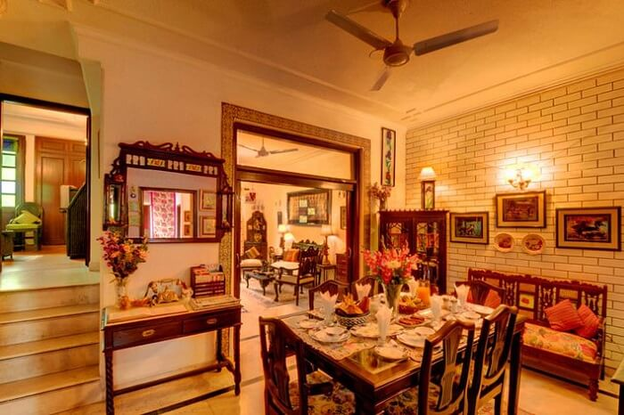 The lavish-looking interiors of the On The House BnB in Delhi
