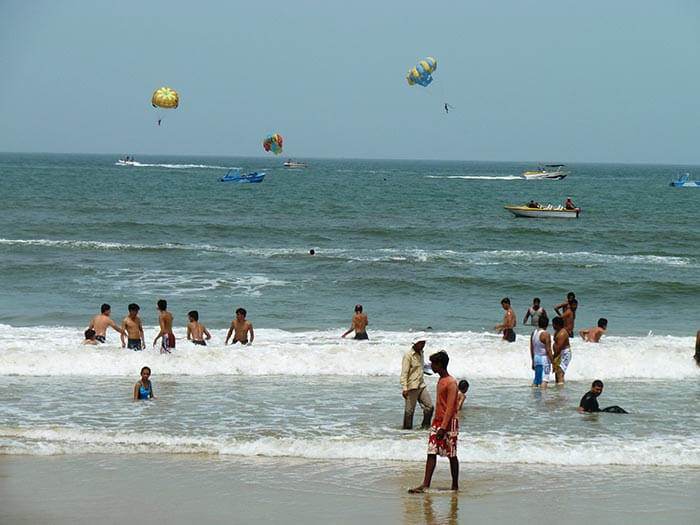 The watersports in the crowded beaches