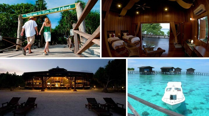 Many views of the best resort in Malaysia - Sipadan Pom Pom Resort