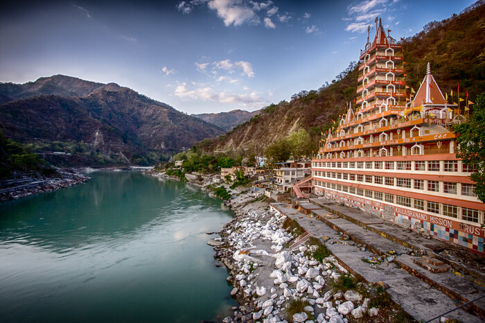 views of rishikesh from the temple