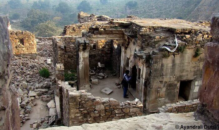 A roofless house in the cursed village near the Bhangarh Fort