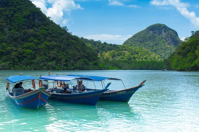 Tourist boats at the Pulau Dayang Bunting or the Pregnant Maiden Island in Langkawi
