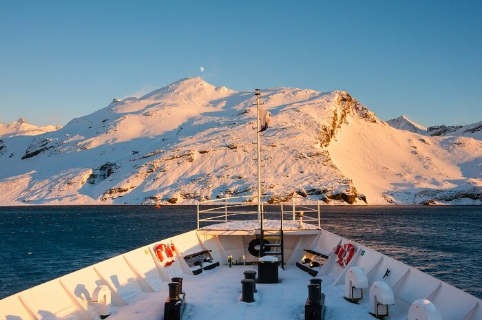 A mountain as seen from cruise ship during an expedition to Antarctica