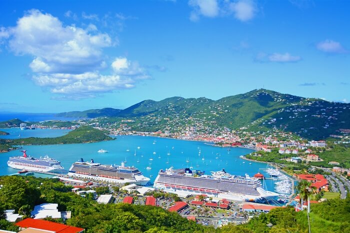 Cruises docked at the port of St Thomas island in the US Virgin group of islands