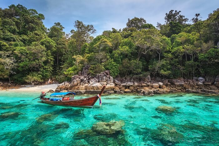 Longtail boat and beautiful ocean of Koh Lipe