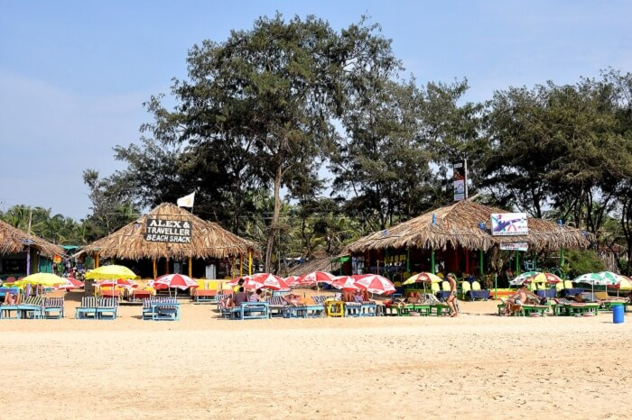 Cafes and Lounges on the Calangute beach in Goa