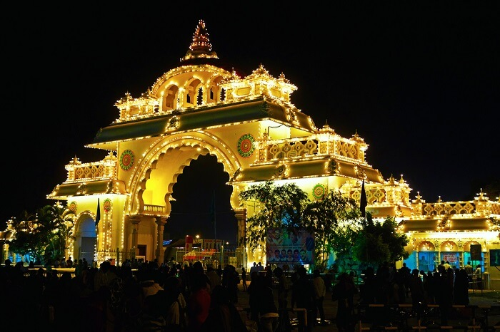Mysore Dasara exhibition at night