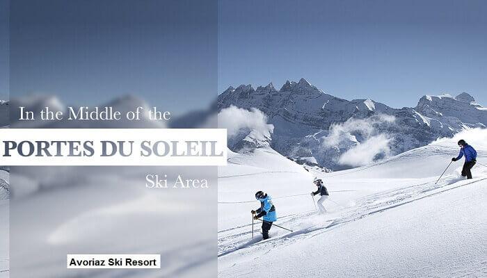 Skiers skiing in the middle of Portes Du Soleil Ski Area in Avoriaz