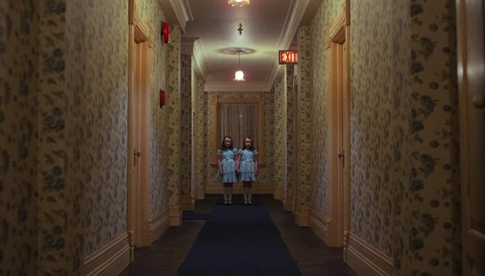 A still from The Shining featuring the Hotel Overlook