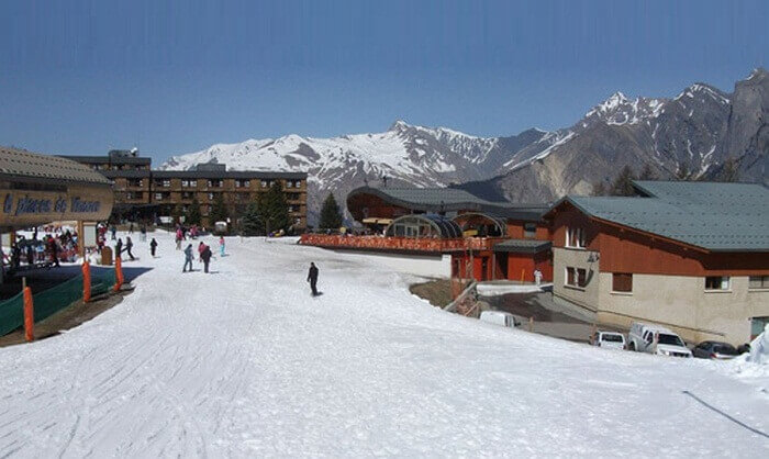 Village centre of Les Karellis is among family friendly ski resorts in France