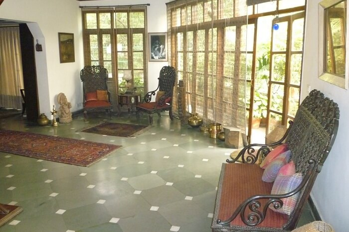 The simple interiors of the Treetops BnB in Hauz Khas