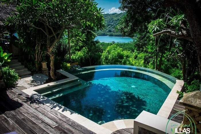 private pool with river view in twin island villa