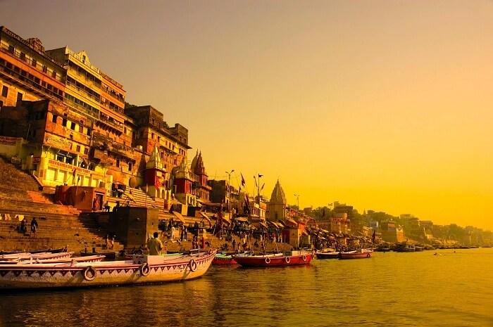 Boats at the ghats of Varanasi at the time of sunset