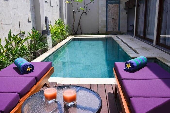 luxurious private pool in zoe villa