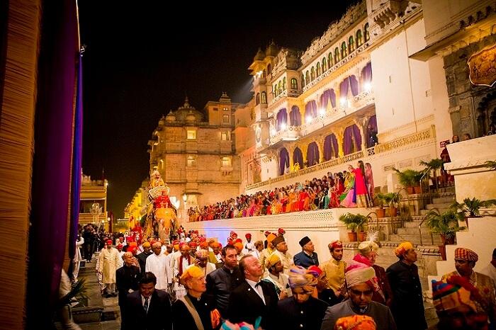 A shot from the marriage of Udaipur Prince Lakshyaraj Singh Mewar and Nivritti Kumari Ji at City Palace