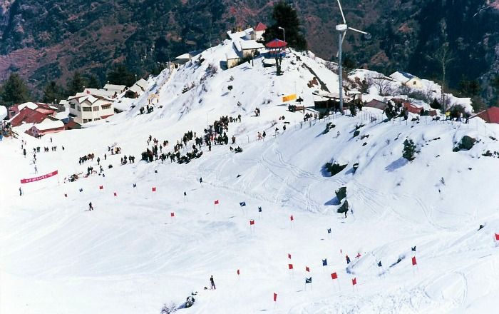 Snow clad hills of Auli, an attracting tourist destination in Uttarakhand India