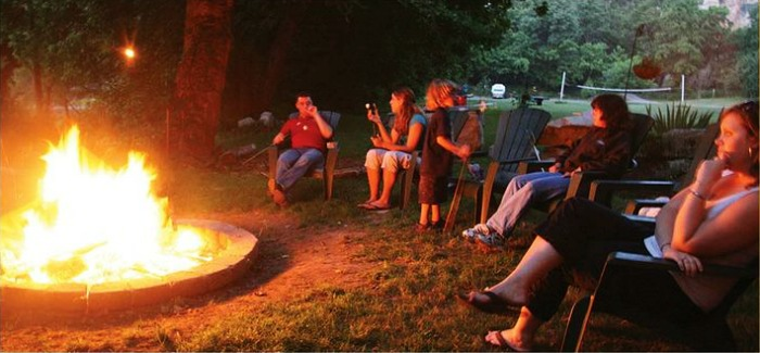 Amazing campfire night by the lake for weekend getaway
