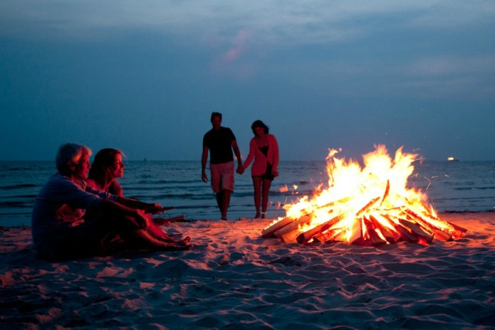 Beach party and bonfire at Candolim Beach in South Goa