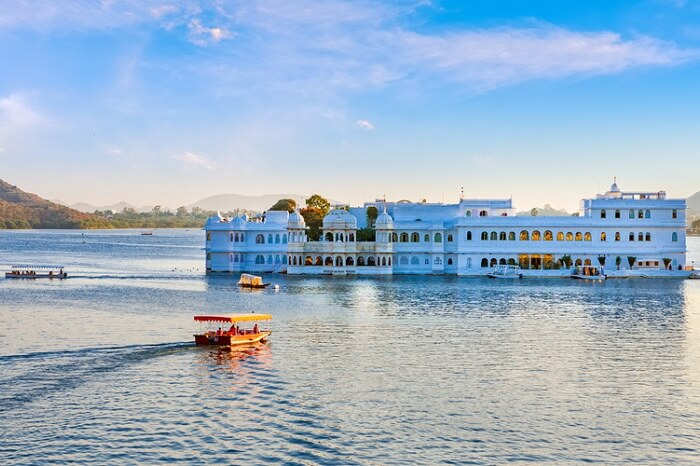 Guests arriving in boat at the Taj Lake Palace in Udaipur