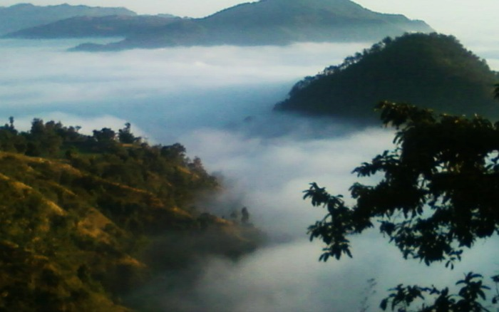 Ranikhet hill station surrounded by clouds and hills, Uttarakhand