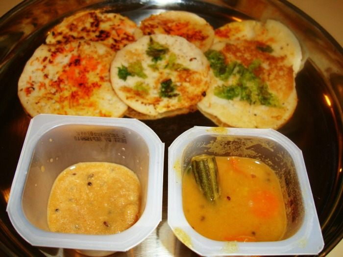Kerala's famous thick Thattu Dosa with spicy chutney and Sambar