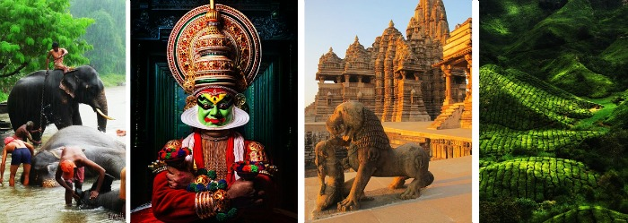 Kerala - for elephant bathing, kathakali, temples, coffee plantation